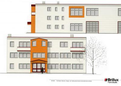 Architektenzeichnung einer Fassadengestaltung als Auftragsvorgabe