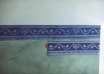 Schablonieren mit einem Blauer-Streifen-Muster (Detail)